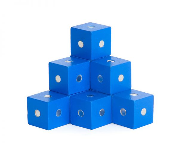 Blue magnetic cube blocks.
