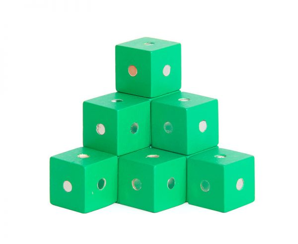 Green magnetic cube blocks.