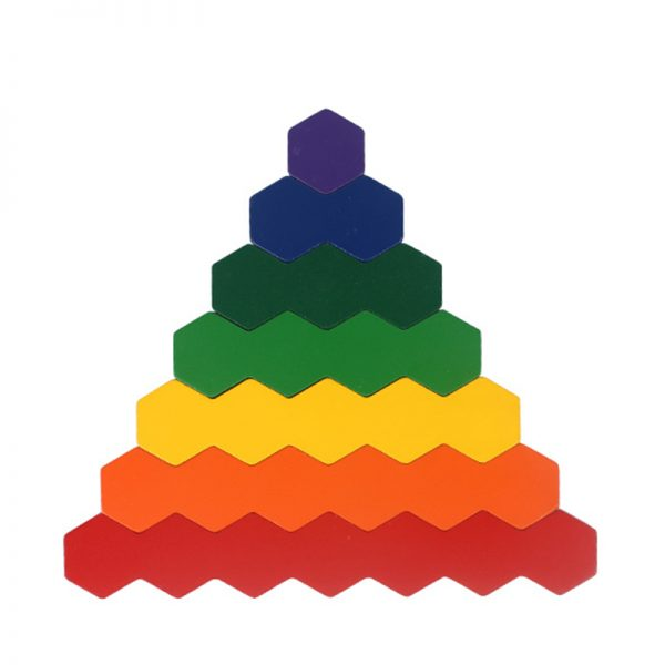 Hexagon blocks with colored stripes.