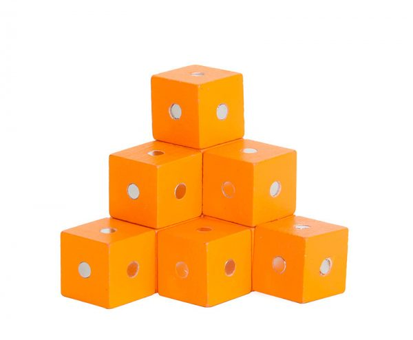 Orange magnetic cube blocks.