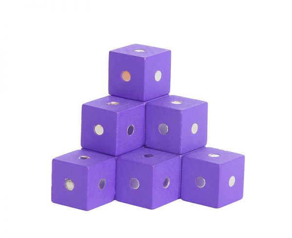 Purple magnetic cube blocks.