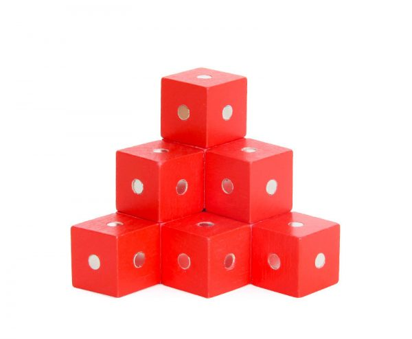 Red magnetic cube blocks.