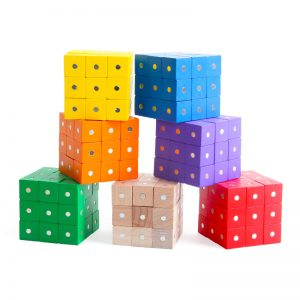 Various colors of magnetic cube blocks.