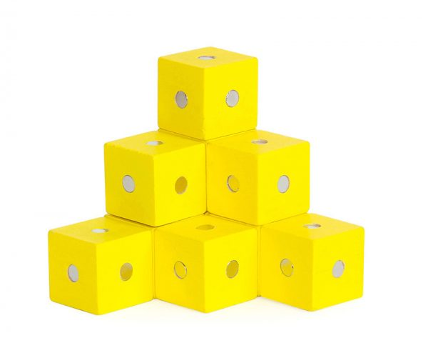 Yellow magnetic cube blocks.