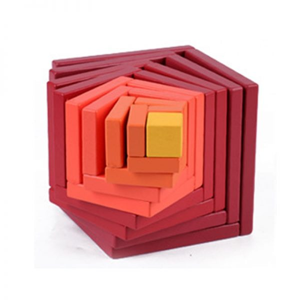 Asymmetrical wooden box toy with red, orange, yellow colored parts.