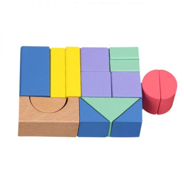 Simple geometric building block set, with triangles, half circles, rectangles.