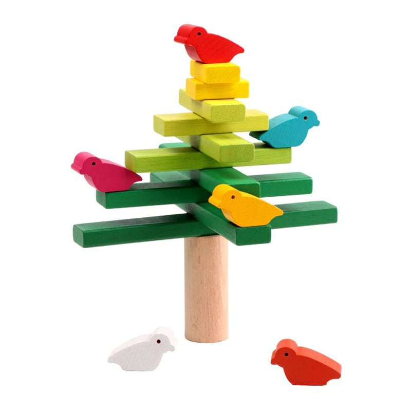 Birds balancing blocks.