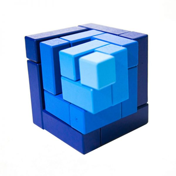 Blue matrix cube blocks slightly offset to demonstrate how it fits together as a cube.