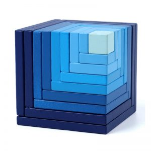 Blue matrix stacking boxes.