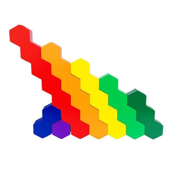 Brightly colored wooden stick toys, made of a series of connected hexagons.