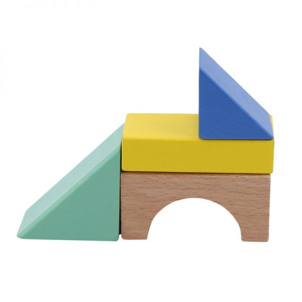 Wooden building blocks used to make a basic fox shape.