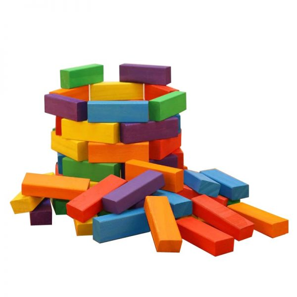 Jumbling block set used to build a cylindrical wooden brick tower.