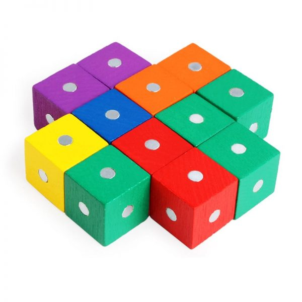 Colorful miniature magnet blocks.