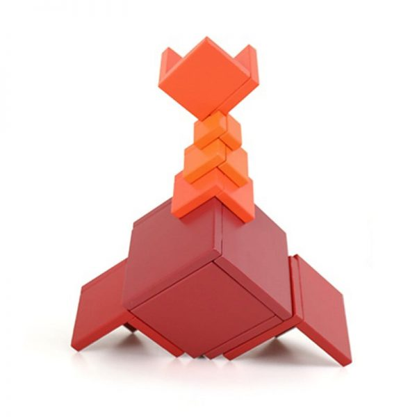 Futuristic space ship structure assembled with red block toy.