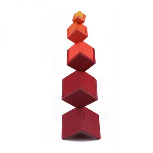 Vertically standing geometric red box tower.