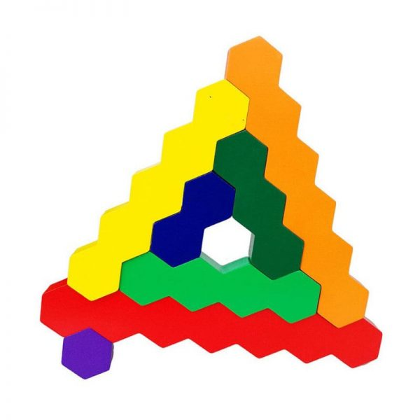 Wooden block toy used to achieve honeycomb pattern.