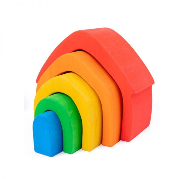 Wooden stacking toy shaped like a house.