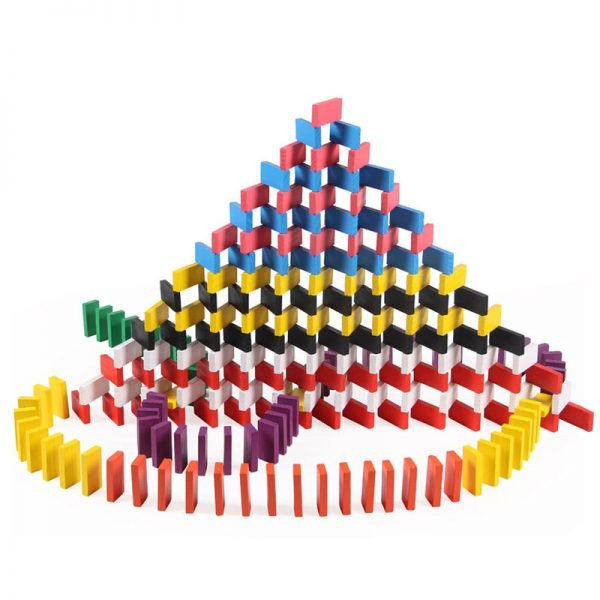 Intricate pyramid structure created with dominos.