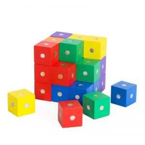 Magnetic mini rainbow cube blocks starter set.