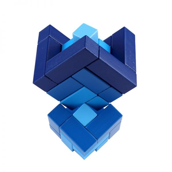 Matrix cube pieces stacking into a trophy shape.
