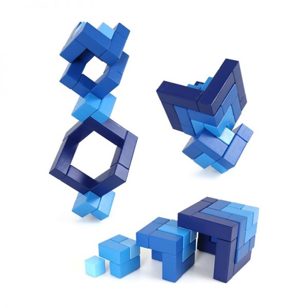 Several tower structures made with matrix cube toy.