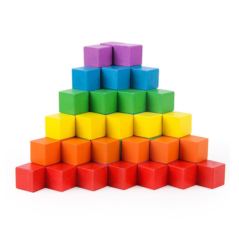 Mini rainbow cube blocks.