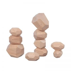 Natural wood zen blocks wooden stacking stones.