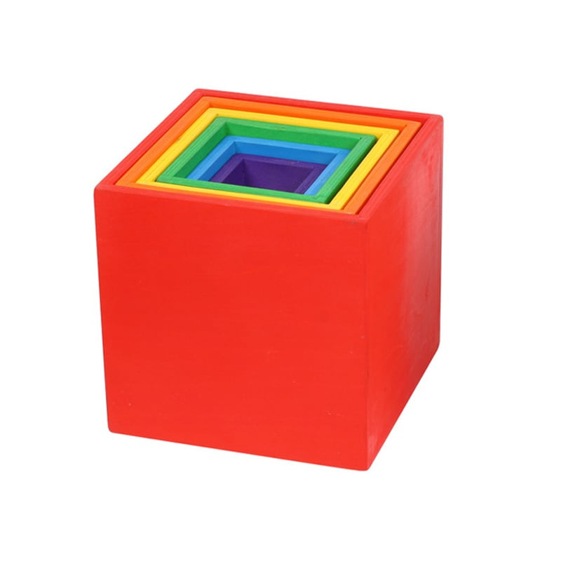Colorful stacking boxes nested together.
