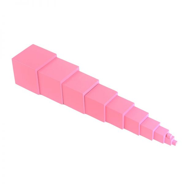 Pink wooden stacking boxes.