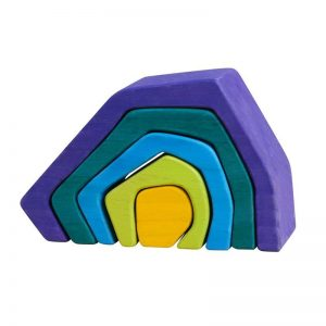 Cave shaped wooden toy with colors purple, green, blue, lime, yellow.