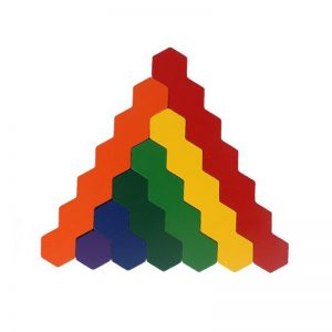 Rainbow hexagon blocks.