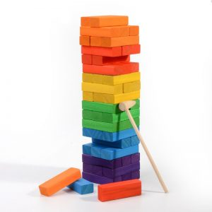 Rainbow jumbling blocks.