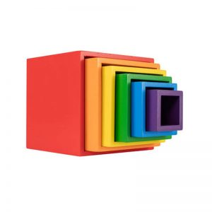 Rainbow stacking boxes.