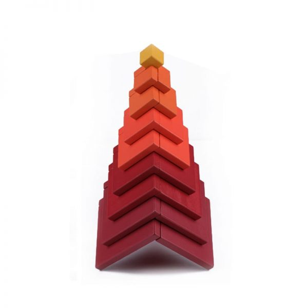 Red matrix boxes stacked up to form a pagoda.
