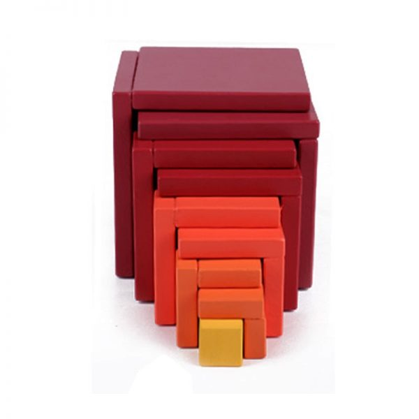 Pieces of a red colored nested box toy intertwined with each other.