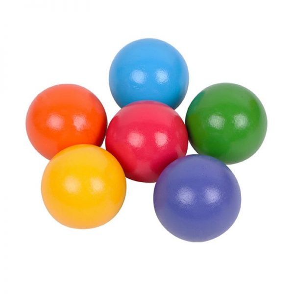 Six large marble shaped wooden balls.