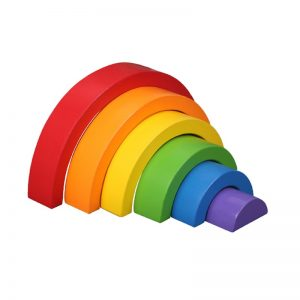 Rainbow stacking blocks in red, orange, yellow, green, blue, purple.