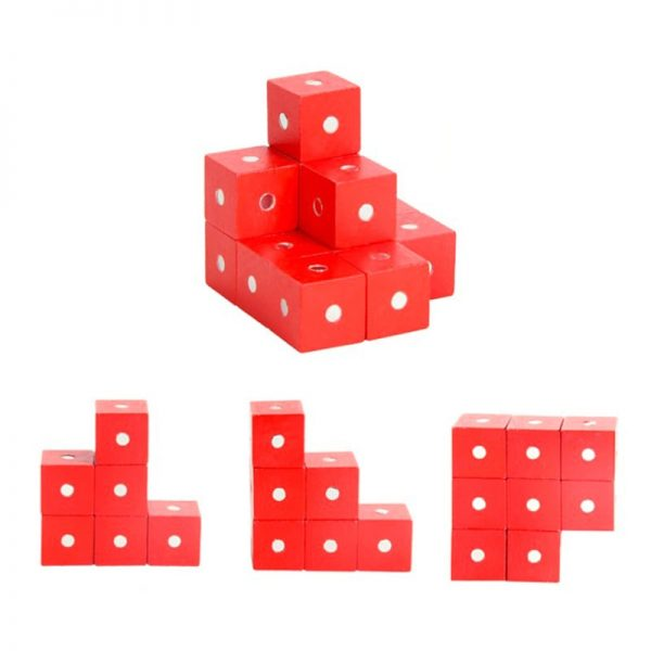 Small red wooden cubes with magnets inside.