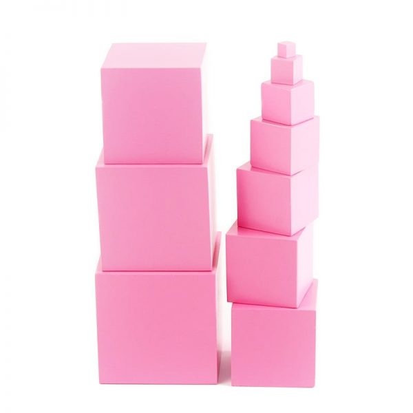 Two pink box towers stacked to demonstrate different sized boxes.