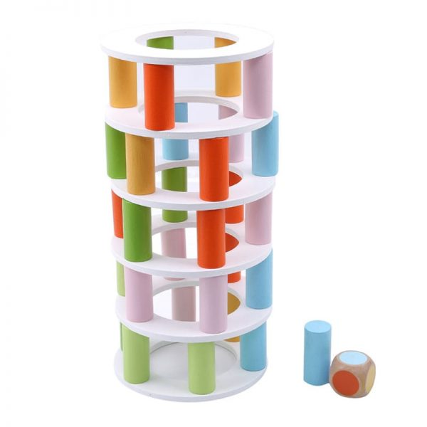 Stacking tower including of wooden ring tiers.