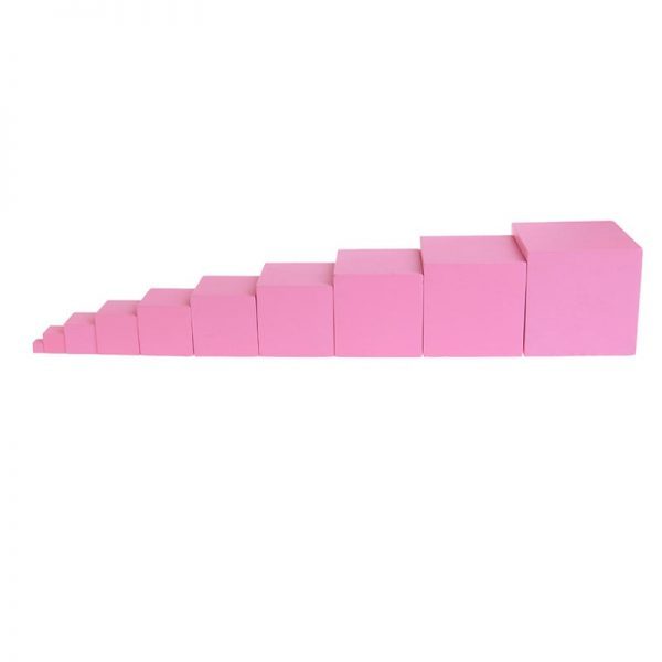 Wooden stacking boxes sorted in line from smallest to largest.