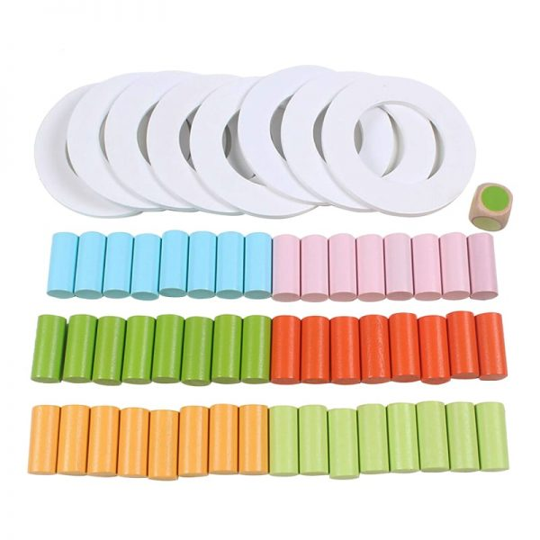 White rings, colorful column pieces, and color dot dice of wooden stacking toy.