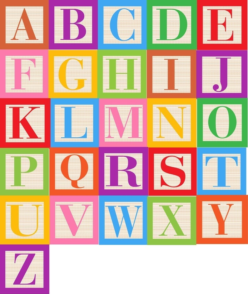 alphabet wooden blocks clipart on etsy