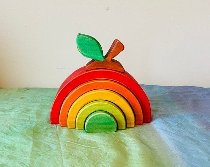 apple shaped wooden rainbow toy