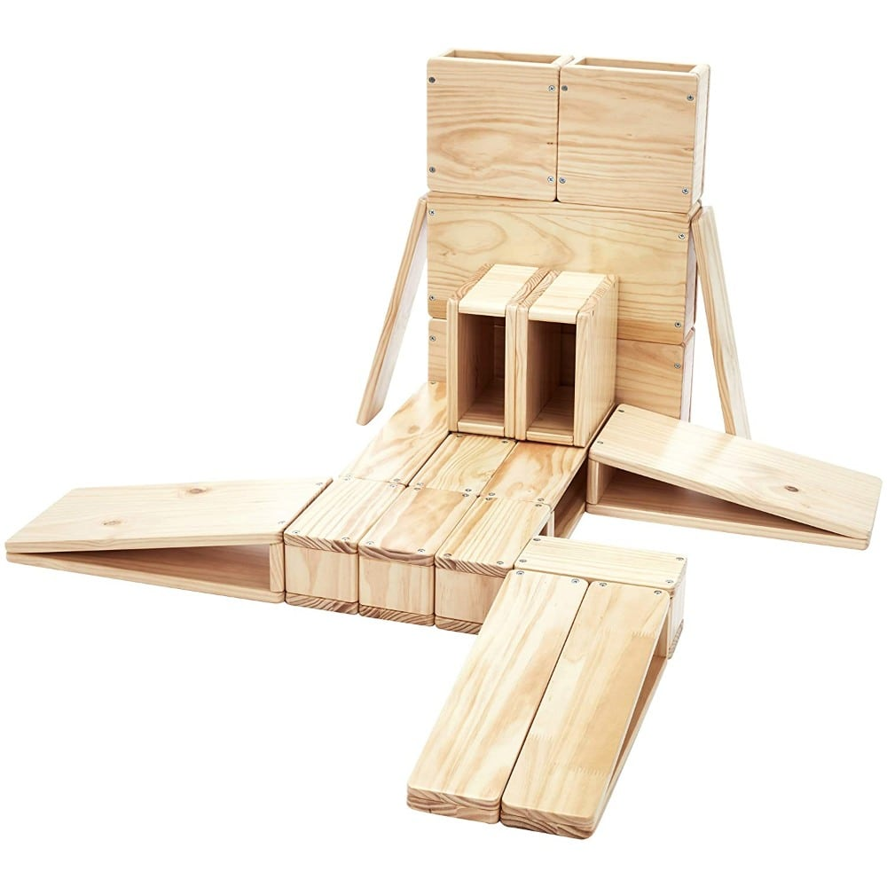 giant hallow wooden block set with ramps