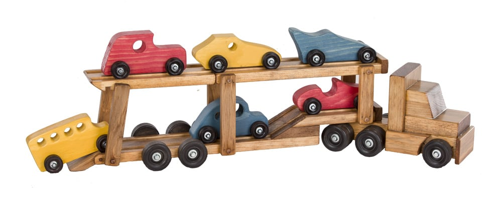lapps toys car carrier semi truck wooden toy