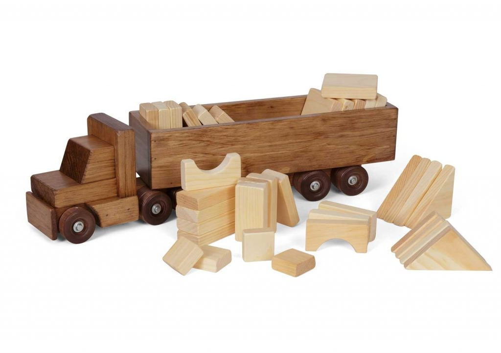 lapps toys wooden semi truck toy