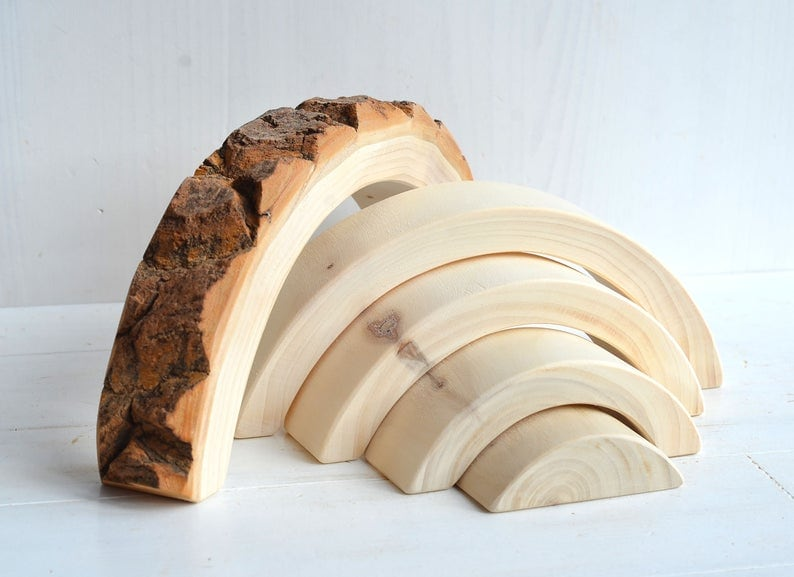 natural bark wooden rainbow toy