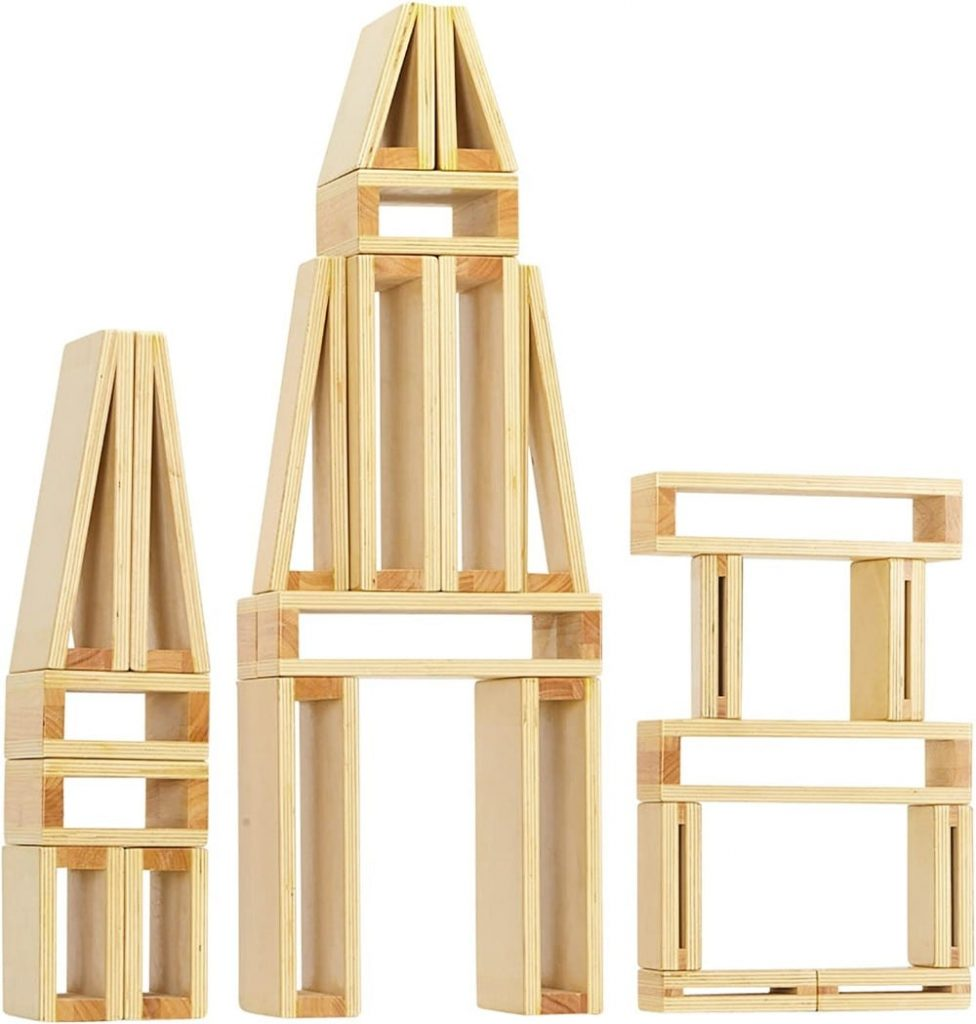 oversized hallow wooden block set stacked into three towers