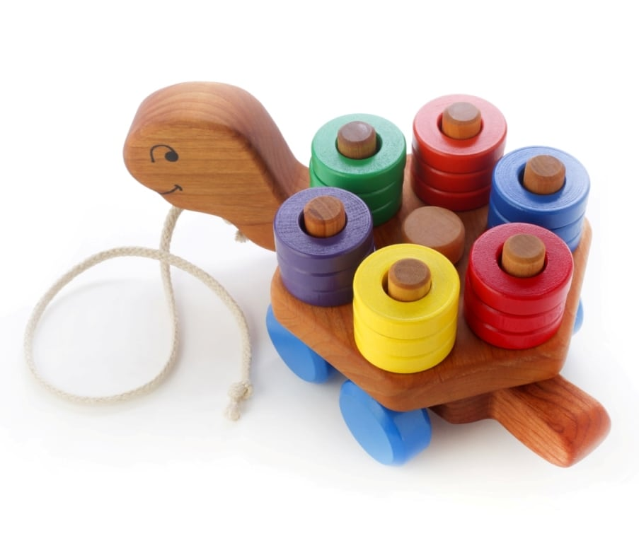 papa dons wooden turtle pull toy